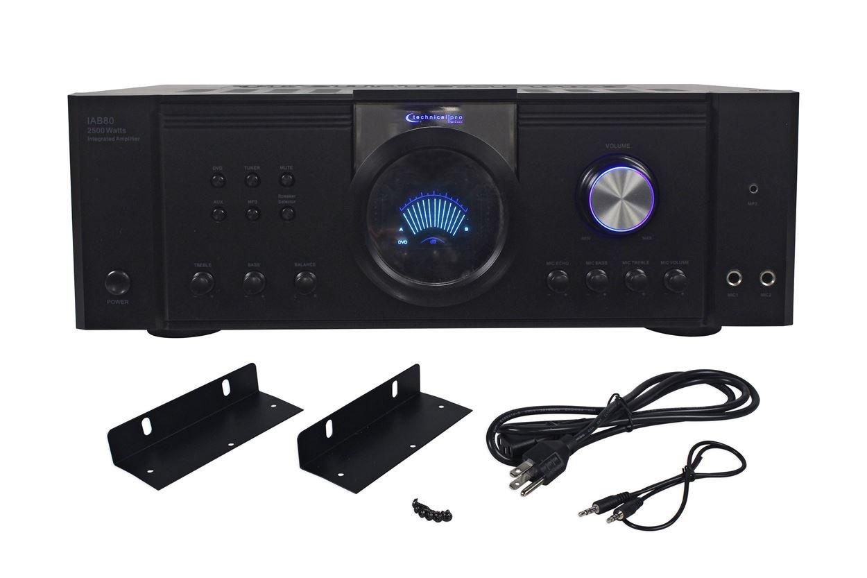 New Technical Pro IAB80 2500 Watt Integrated DJ Amplifier w/MP3 Input+Color LCD