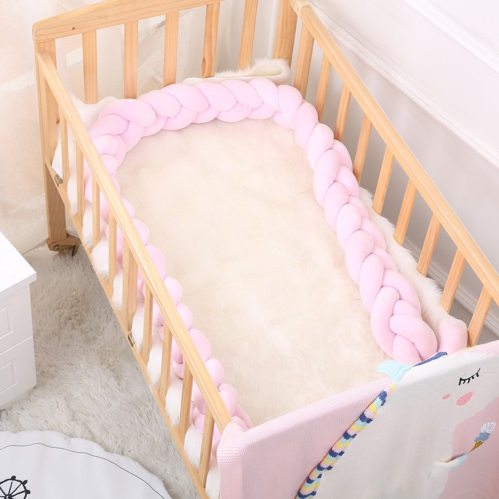 Baby Braided Crib Bumpers Long Knot Pillow Cushion,Nursery Bedding Cot Safety Fence Stroller Bumpers Room Decor (Grey-White-Pink, 200CM) Mofeng HK0083MFMC