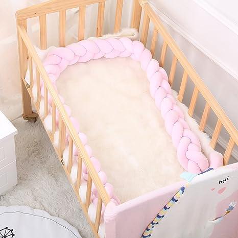 Ruick Cojín Bebé Cuna trenzado Parachoques nudo largo Almohada para bebé 100CM rosa