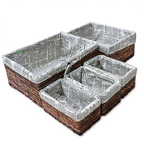 Wicker Home Decorative Storage Baskets 5-piece Nesting Baskets Brown Wicker Hand Woven with Printed Canvas Storage and Organization Wicker Basket 5 Piece Set 1 Large 1 Medium and 3 Small (Set Of Wicker Baskets)