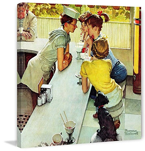 Marmont Hill Norman Rockwell Prints on Canvas Soda Jerk Art Print, 40 by 40