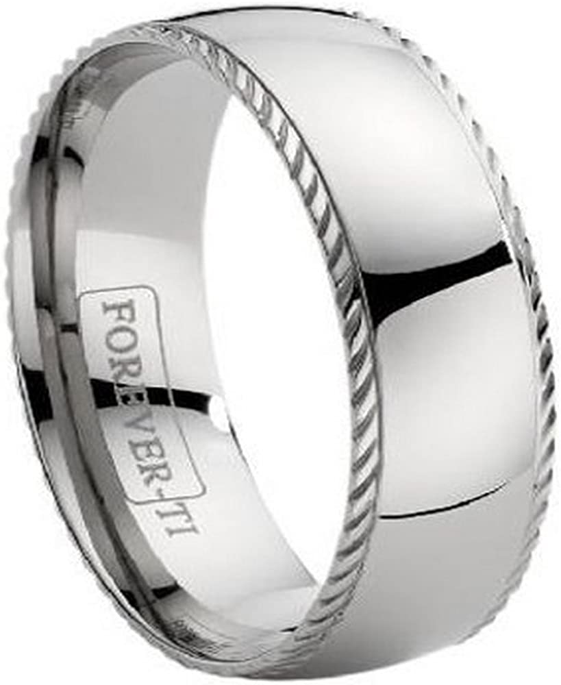 Ridged Dome Wedding Band Ring in Titanium Size 9