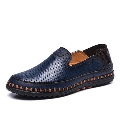 ailishabroy Mocassins plats respirants d été des hommes glissent sur la  chaussure en cuir ( 971cee01c61