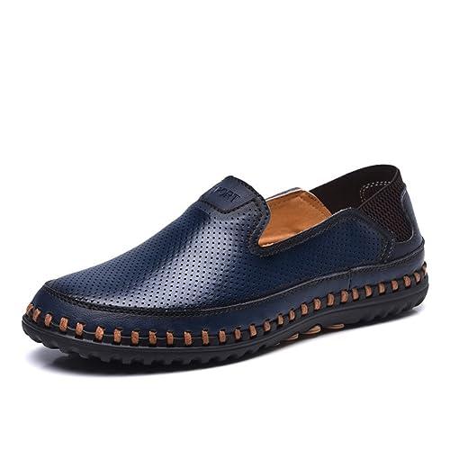 7ac4595cd42 ailishabroy Mocasines Planos Respirables de Verano de los Hombres Resbalón  en el Zapato de Cuero (