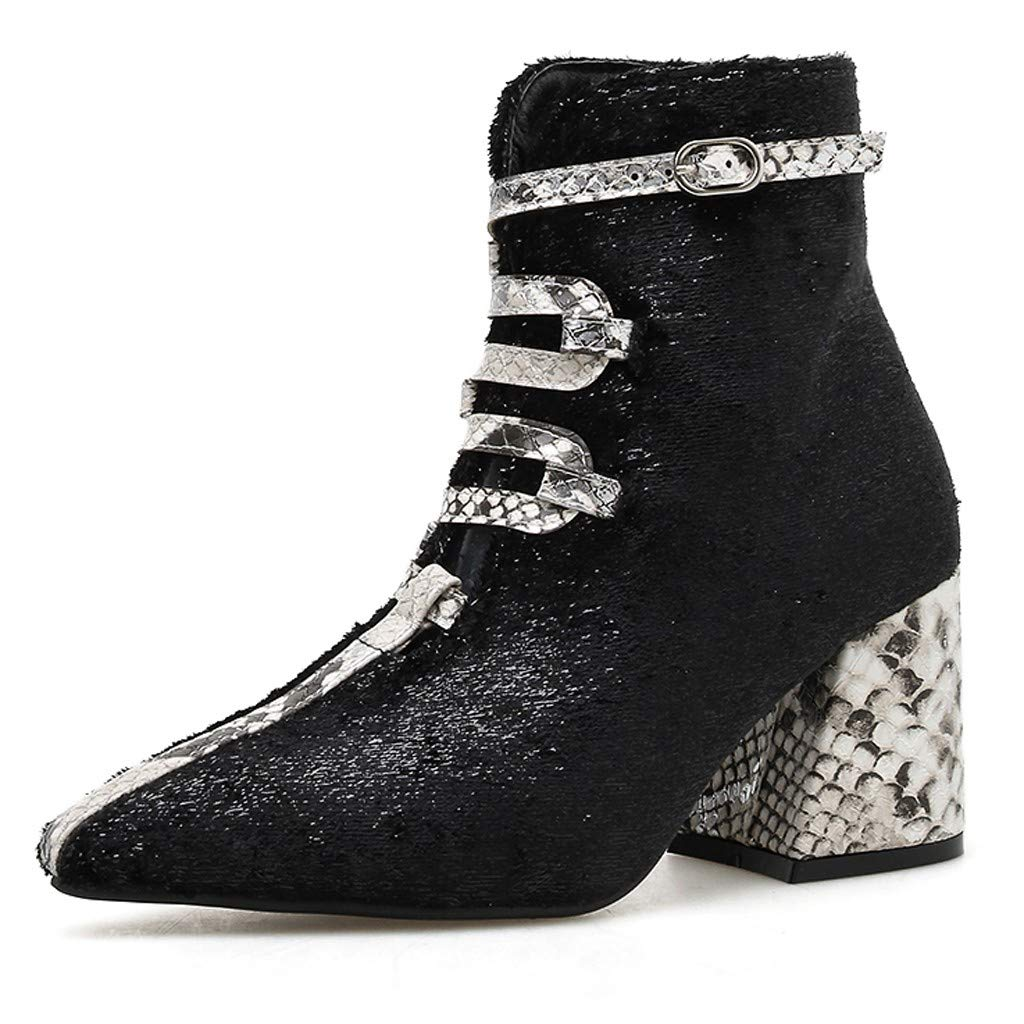 LATINDAY 2019 Motorcycle Western Cowboy Boots Women Crocodile Pattern Leather Short Cossacks High Heels Ankle Shoes Black by LATINDAY ➜ Shoes Accessory
