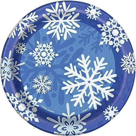 Winter Snowflake Holiday Dessert Plates, 8ct (Frozen Theme Food)