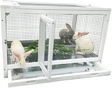 Rabbit Hutch Guinea Pig Hutch Indoor Balcony Pet House Chicken Cage Cat Cage Household Solid Wooden Duck Cage (Color : White, Size : 85 * 61 * 54.5cm)