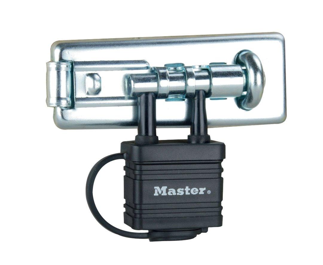 Master Lock 471eurd 110/mm Moraillon en Acier tremp/é avec Cadenas Int/égr/é r/ésistant