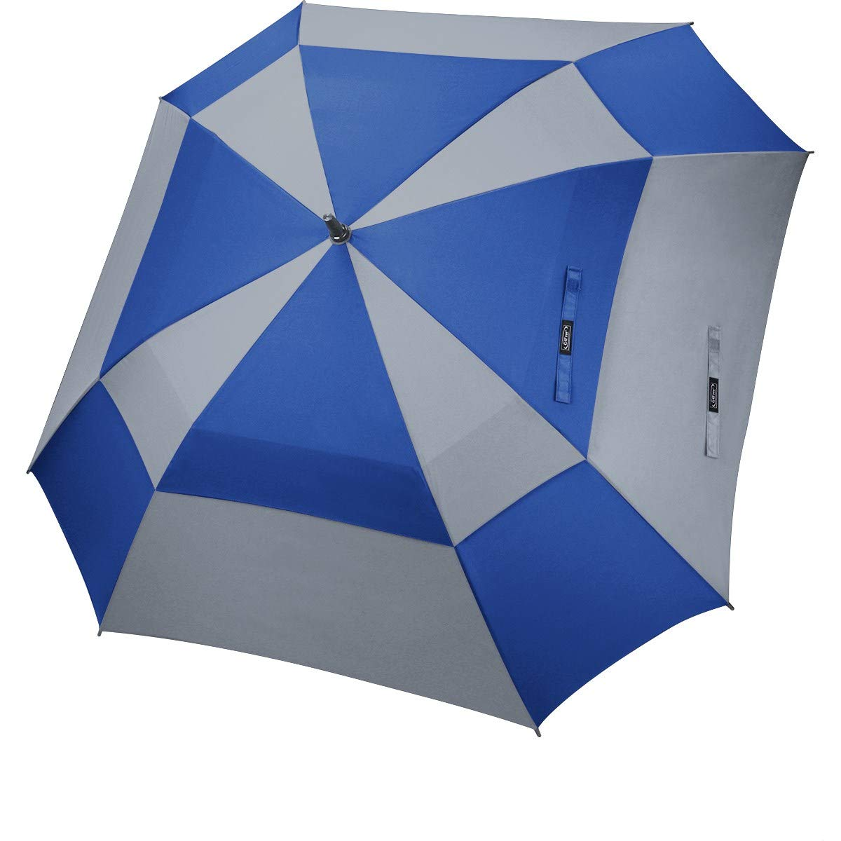 G4Free Extra Large Golf Umbrella Double Canopy Vented Square Umbrella Windproof Automatic Open 62 Inch Oversize Stick Umbrella for Men Women (Blue+Grey) by G4Free
