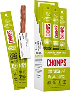 product image for CHOMPS Free Range Jalapeño Turkey Jerky Snack Sticks, Keto, Paleo, Whole30 Approved, Non-GMO, Gluten Free, Sugar Free, 70 Calorie Snacks, 1.15 Oz Meat Stick, Pack of 24 - Packaging May Vary