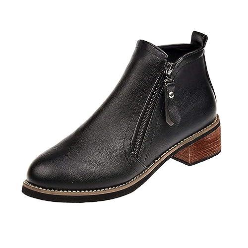 ❤ Botines Cortos de Mujer,Tefamore Talón Grueso Cremallera Lateral Cabeza Redonda con Botines para Mujer Martin Boots Zapato de Mujer de Invierno: ...