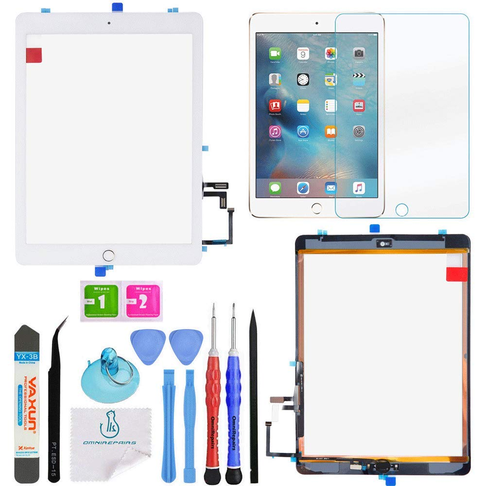 OmniRepairs Touch Screen Glass Digitizer Assembly OEM Replacement with Home Button Compatible for iPad 5 (5th Generation) Models A1822 A1823 with Adhesive Tape and Premium Repair Toolkit (Gold)
