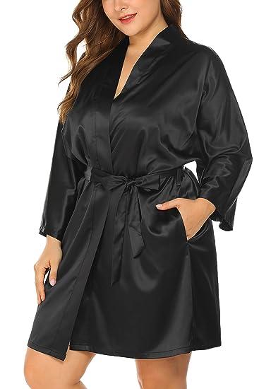 Womens Plus Size Short Satin Robes Kimono Dressing Gown Bathrobe
