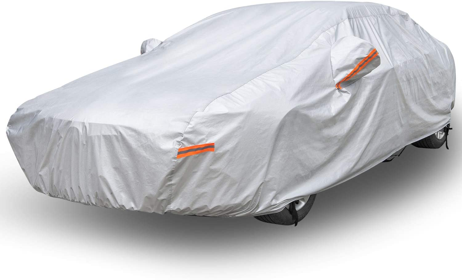 Car Cover Waterproof All Weather for Automobiles, Morhept 6 Layer Vehicle Cover Universal Outdoor Heavy Duty Full Car Covers, Scratch Resistant UV Protection Auto Cover for Sedan, Fits up to 178""