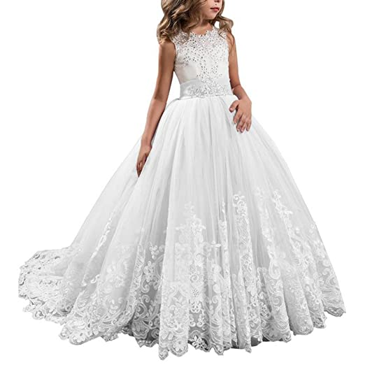 158b9d101a20 Young And Beautiful Girls Lace Dress Beading Bodice Wedding Communion Prom  Dance Ball Gown Party Photography