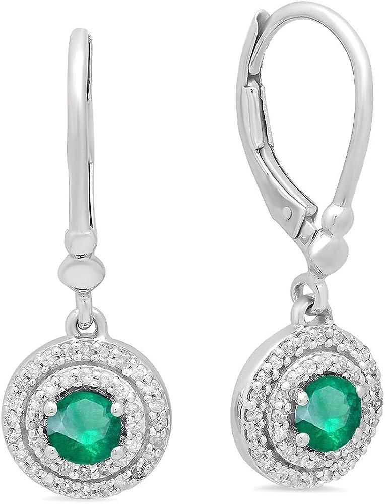10K Blanco Oro 4mm cada redondo Gemstone y blanco Diamond Ladies doble Halo pendientes de gota colgando