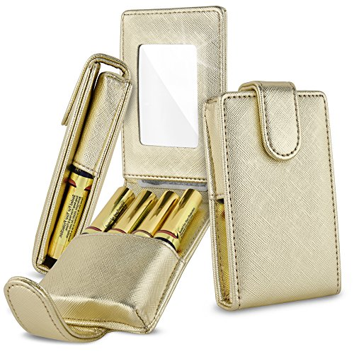 Celljoy Case for LipSense, Younique, Kylie Cosmetics, Liquid Lipsticks and Lip Gloss with Mirror - Fits 4 Tubes Mirror Card Slot - Travel Purse Storage (Metallic Gold)
