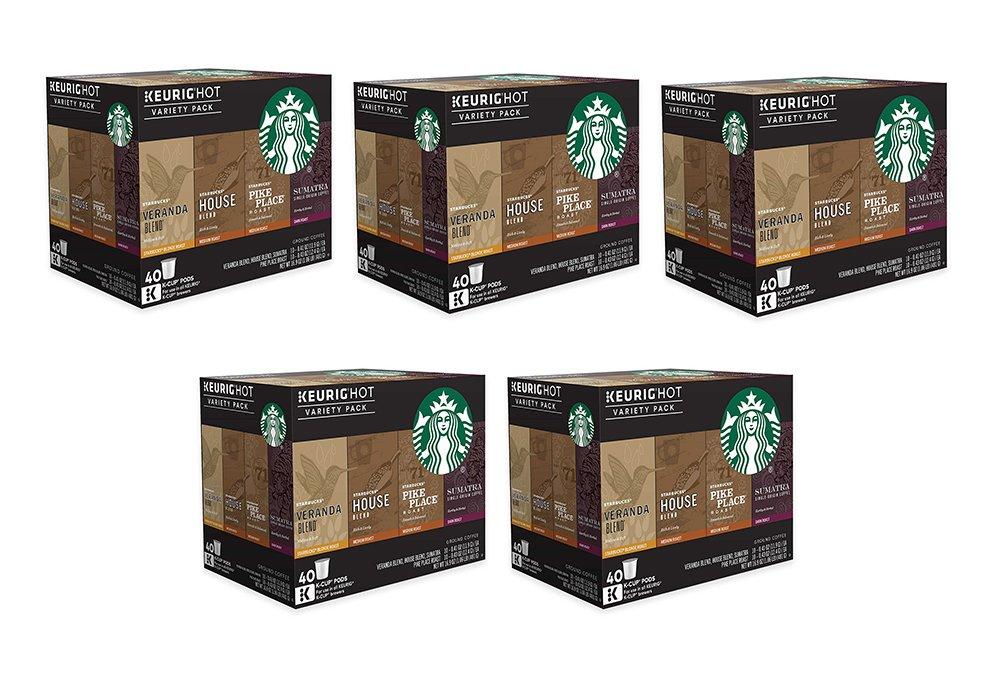 Starbucks Coffee giLlW Keurig K-Cup Variety Pack, 40 Count (5 Pack)