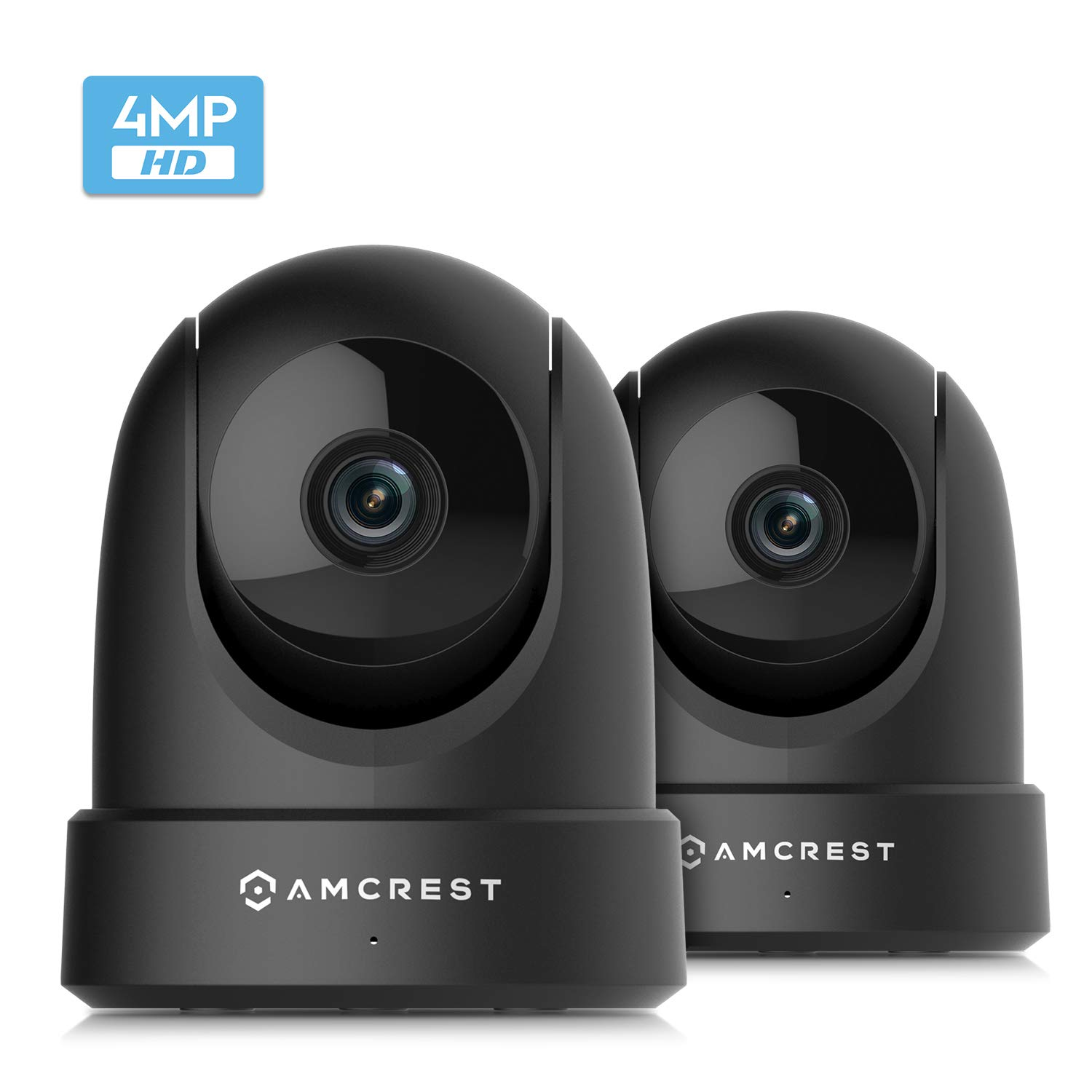 2-Pack Amcrest 4MP UltraHD Indoor WiFi Camera, Security IP Camera with Pan/Tilt, Two-Way Audio, Remote Viewing, Dual-Band 5ghz/2.4ghz, 4-Megapixel @~20FPS, Wide 120° FOV, 2PACK-IP4M-1051B (Black) by Amcrest