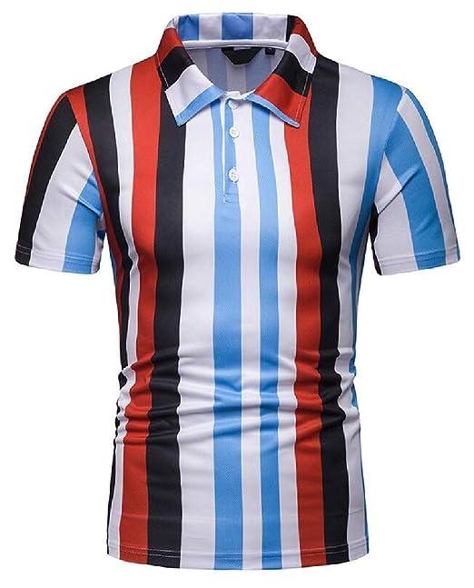 eb017253 GUOCAI Men Summer Short Sleeve Turn Down Collar Slim Vertical Stripe  Contrast Golf Polo Shirt Red