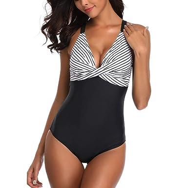 meilleur site web d4495 70bcf Kanpola Maillot De Bain Femme 1 Pieces Amincissant Bande Rembourrée Bikini  Push-up Rembourré Soutien-Gorge Monokini