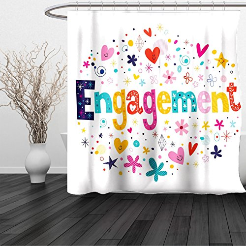 HAIXIA Shower Curtain Engagement Cartoon Patchwork Inspired Hearts Engagement Party Theme Image Queen Full Multicolor - Boston Red Sox Nutcracker