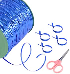 Keadic 350 Yard Metallic Twist Ties with a Mini Scissor, Decorative Ties Perfect for Birthday Party Goodie Bags,Wedding Treat Gift Bags, Bread Candy Bags - Blue