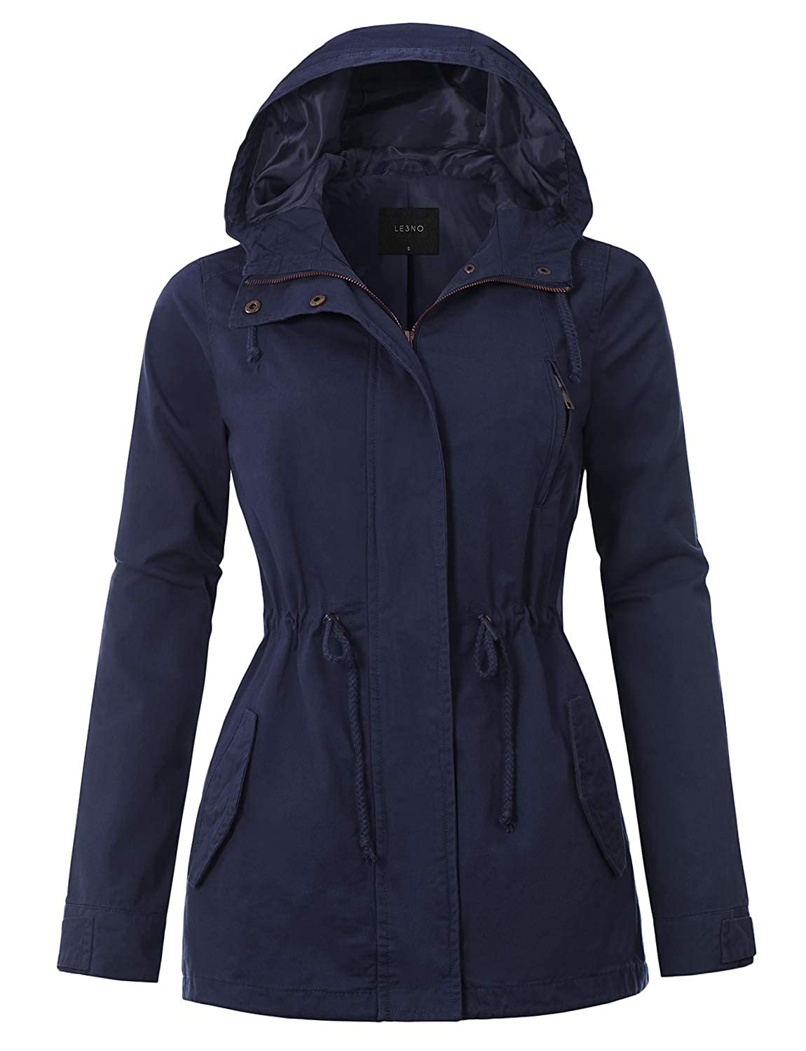 for S-3XL LE3NO Lightweight Casual Military Hooded Anoraks Safari Jacket with Drawstring