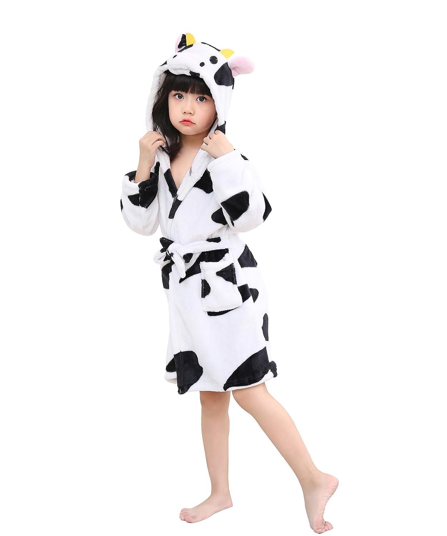 5e6a7da43 Little Girls Coral Fleece Unicorn Hooded Bathrobe Unisex Kids Robe ...