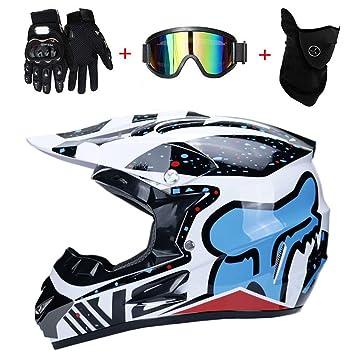 WanSheng Motocicleta Motocross Cascos, Guantes Y Gafas D.O.T estándar Niños Quad Bike ATV Go Karting Casco Blue Fox,S55~56CM: Amazon.es: Hogar