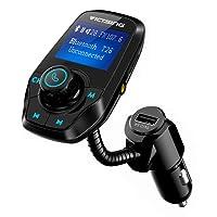 Transmetteur FM Bluetooth VicTsing Kit Voiture Main-libre Sans Fil Adaptateur Radio Chargeur avec Double Port USB et Port Audio 3,5mm, Écran d'Affichage 1,44 Pouces et Port Carte TF pour Iphone, Smartphone IOS / Android etc (Noir)