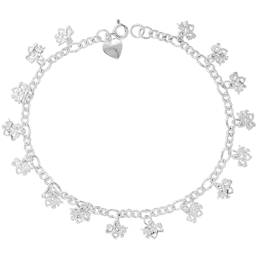 Sterling Silver Unicorn Anklet 10mm wide, fits 9 - 10 inch ankles