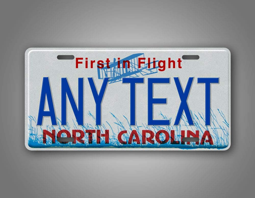 SignsAndTagsOnline Custom North Carolina First in Flight License Plate Any Text Personalized NC Metal Auto Tag Aluminum