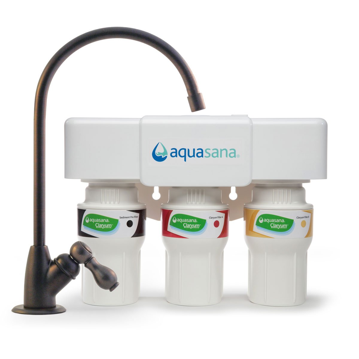 Aquasana 3-Stage Under Sink Water Filter System with Oil-Rubbed Bronze Faucet