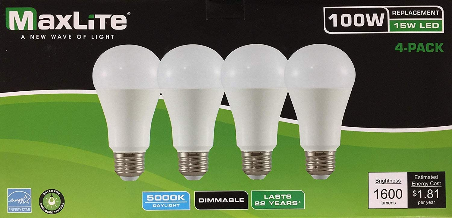 MaxLite LED Dimmable 4 Pack A19 Bulb 100W Daylight 5000K