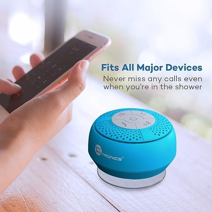 TaoTronics Altavoz Bluetooth Ducha Impermeable Inalámbrico con Ventosa, A2DP Estéreo, IPX4, hasta 6 Horas de Reproducción para Playa, Ducha, Viaje y ...