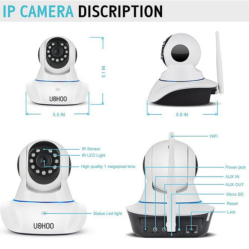 IP Camera, UOKOO 720P Wireless Security Camera Internet Surveillance Camera with Pan/Tilt and 2-Way Audio use for Pet Monitor, Puppy Cam, Baby Monitor and Nanny Camera C42 by UOKOO (Image #3)