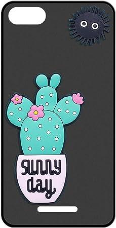 Sunrive Funda para Wiko Lenny 2, Silicona Mate Funda Slim Fit Gel 3D Carcasa Case Bumper de Impactos y Anti-Arañazos Espalda Cover(Cactus Azul) + 1 x Lápiz óptico