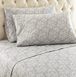 Thermee Micro Flannel Shavel Home Products Sheet Set, Romance/Grey, Queen
