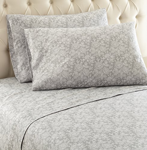 Thermee Micro Flannel Shavel Home Products Sheet Set, Romance/Grey, Queen by Thermee Micro Flannel