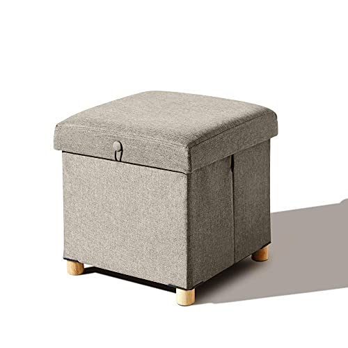 LUX LOVE LIFE LUXURY Storage Foot Stool Stool Wooden Stool Flat Packed Furniture Storage Ottoman Ottoman Wooden Ottoman Small Coffee Table Beige – 15 x15 x15