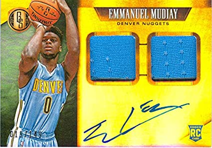 2015 Gold Standard Authentic Emmanuel Mudiay Gold Rookie Autograph Dual Game  Worn Jersey Card 310009b95