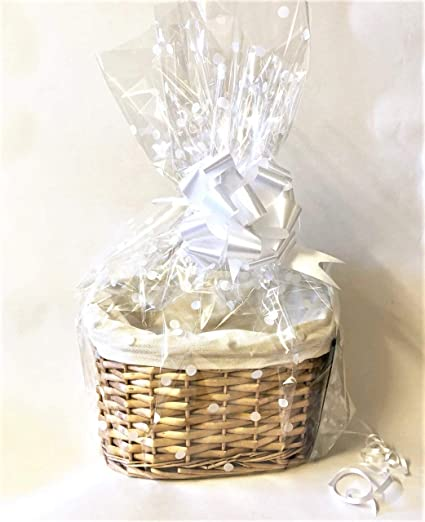 Chattels Make Your Own H&er Kit Oval High back Willow Basket which includes Bow u0026 Cellophane Small Medium Or Large Gift Xmas (small) Amazon.co.uk ... & Chattels Make Your Own Hamper Kit Oval High back Willow Basket ...