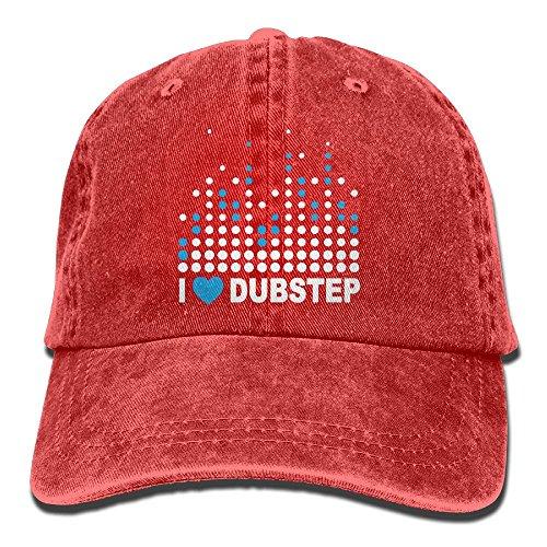SKXJ0IOAI I Heart Dubstep - DJ Music Bass Electronica Hat Snap-Back Hip-Hop Cap Baseball Hat Head-Wear Cotton Trucker Hats Red