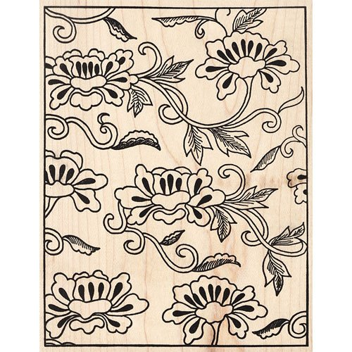 Asian Flower Collage Background Rubber Stamp