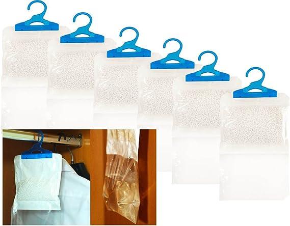 Aiuta a prevenire umidit/à LIVIVO Muffa e condensa 6 Pezzi Confezione da 6 deumidificatori per armadi Interni Facili da Appendere con Cristalli idrofili Naturali ad Azione Rapida Muffa