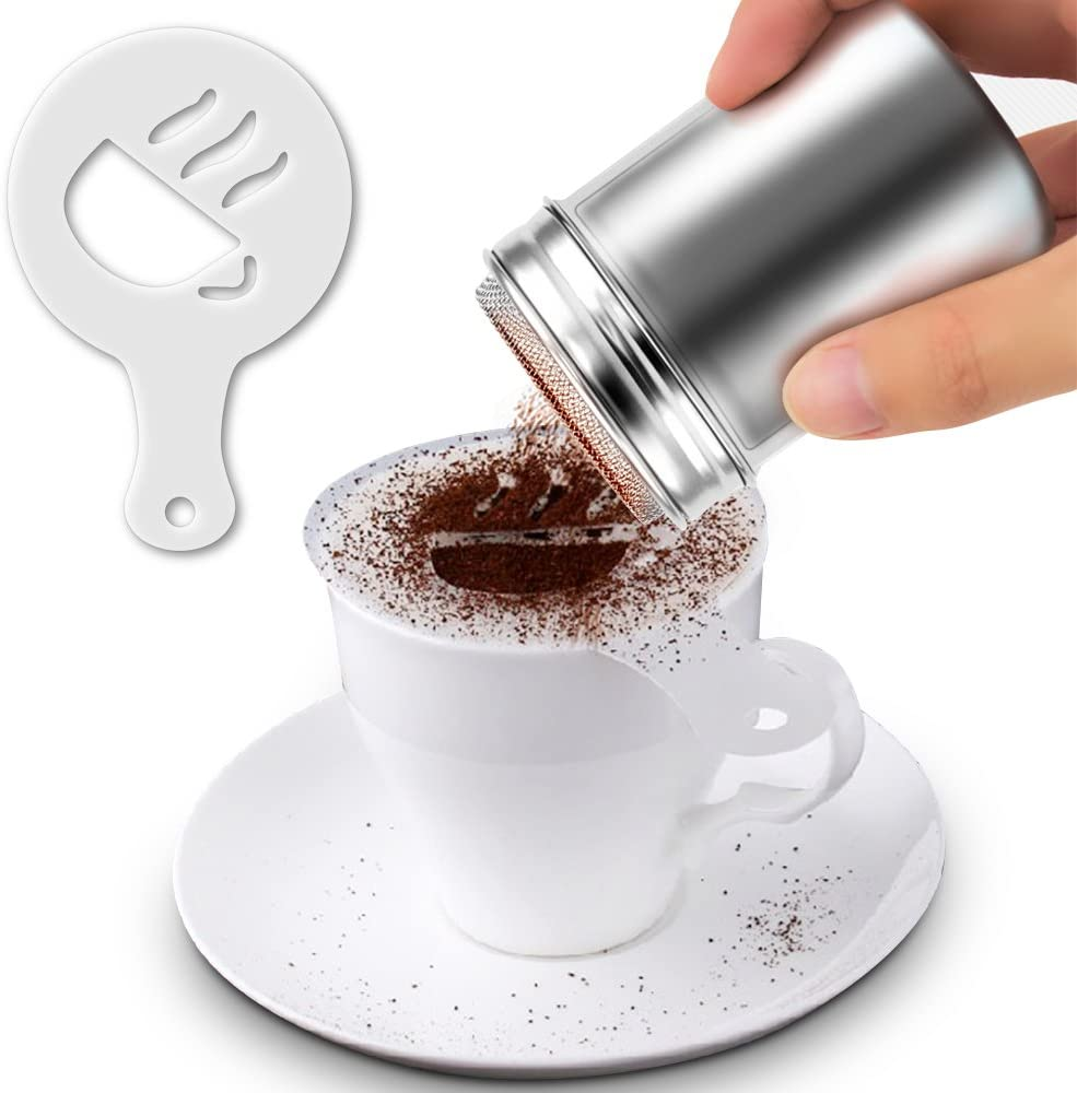 Latte art powder shakers with 16pc printing stencils