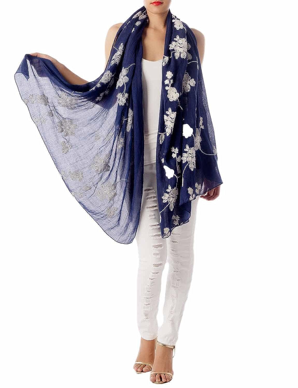 TALLA Talla única. iB-iP Mujer impresión ligera hermosa porcelana azul blanca largo bufanda de moda