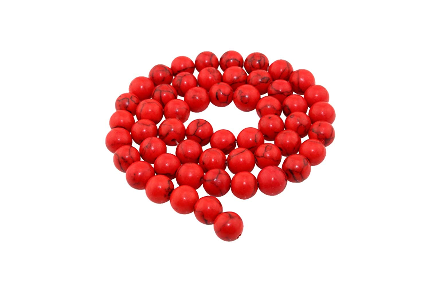 Natural Red turquoise Smooth Round Loose Beads for Bracelet Necklace Earrings Jewelry Making Crafts Design Healing