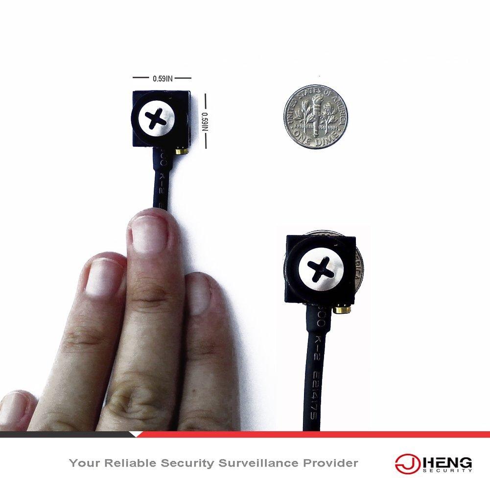 Cámara oculta Jcheng Security, en tornillo, tamaño miniatura, 800TVL HQIS, cámara de vídeo espía de 3,7 mm con audio para interiores, de circuito cerrado: ...